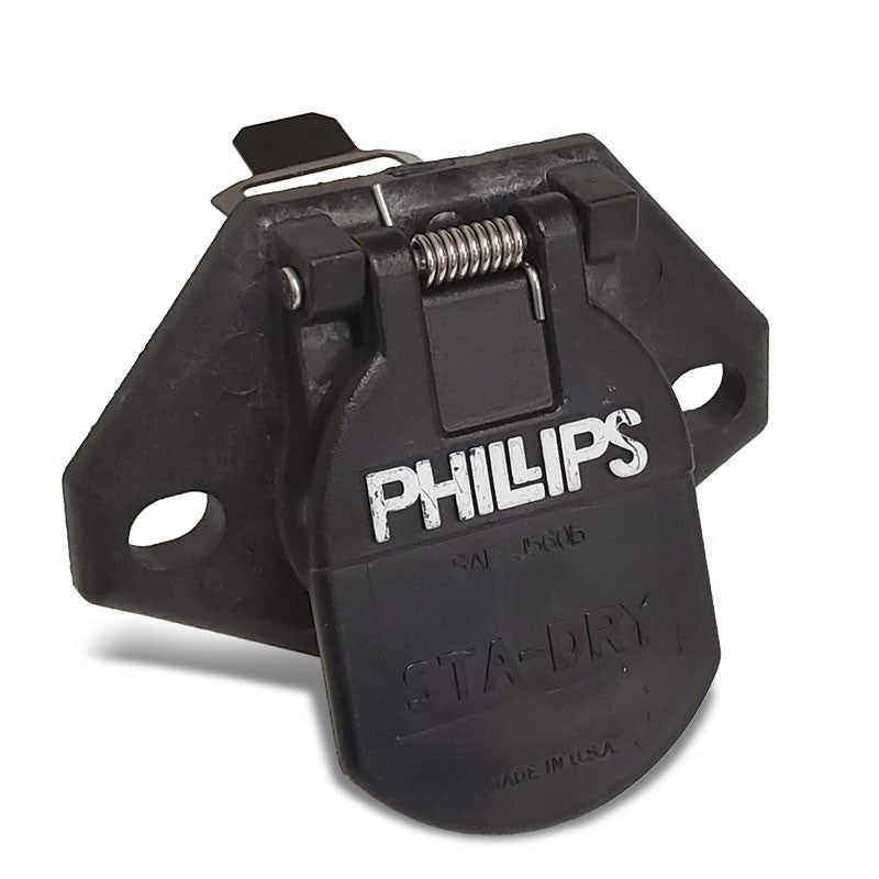 Phillips 16-726 7-Way Havy Duty STA-DRY 2-Hole Bullet w/locking clip Socket-Electrical Connector-BuildFastCar