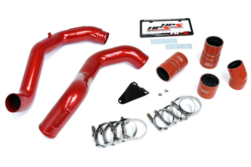HPS Red Hot & Cold Side Charge Pipe with Intercooler Boots Kit 03-07 Ford F550 Superduty-Air Intake Systems-BuildFastCar-17-105R-4