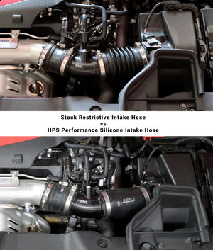HPS Black Silicone Post MAF Air Intake Hose Kit for Honda 17-19 Civic Type R 2.0L Turbo