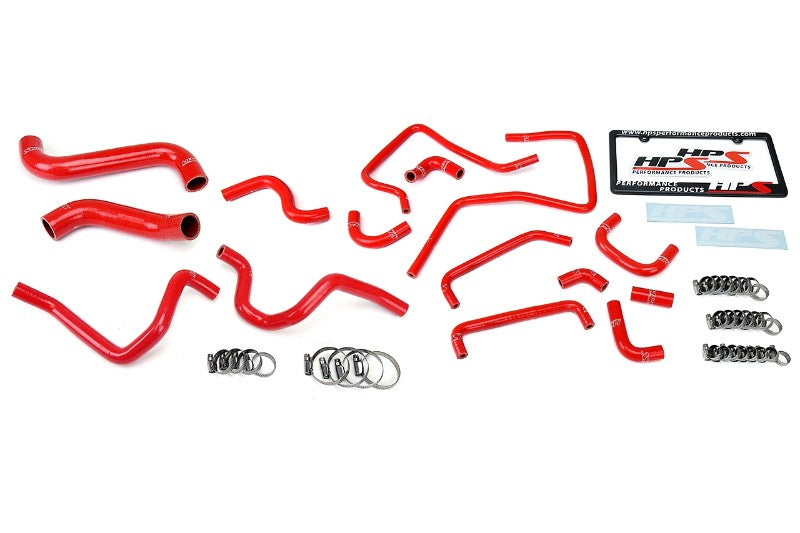 HPS Red Silicone Radiator Heater/Ancillary Hose Kit for Subaru 05 Impreza WRX STi-Hose Kits-BuildFastCar-57-1814-RED-2
