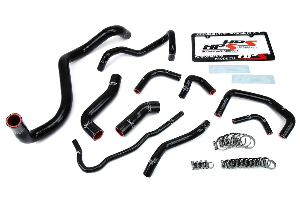 HPS Black Reinforced Silicone Radiator Hose Kit Coolant for Volkswagen 99-06 Golf MK4 1.8T Turbo Manual Trans Left Hand Drive