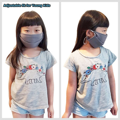 BFC Grey Washable Adult Kid 100% Cotton Face Mask Shield Cover Nose Anti Dust