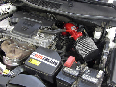 HPS Red Shortram Air Intake+Heatshield+Filter For 12-17 Toyota Camry 2.5L 4Cyl-Air Intake Systems-BuildFastCar-827-524R