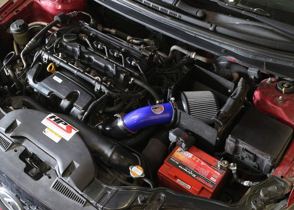 HPS Performance Blue Shortram Air Intake for 2010-2013 Kia Forte 2.0L-Air Intake Systems-BuildFastCar-827-552BL-1