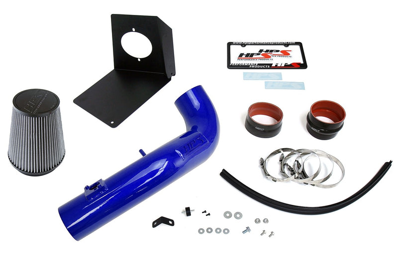 HPS Performance Blue Shortram Air Intake Kit for 2009-2014 GMC Sierra 1500 4.8L 5.3L 6.0L 6.2L V8 (Excludes Hybrid)