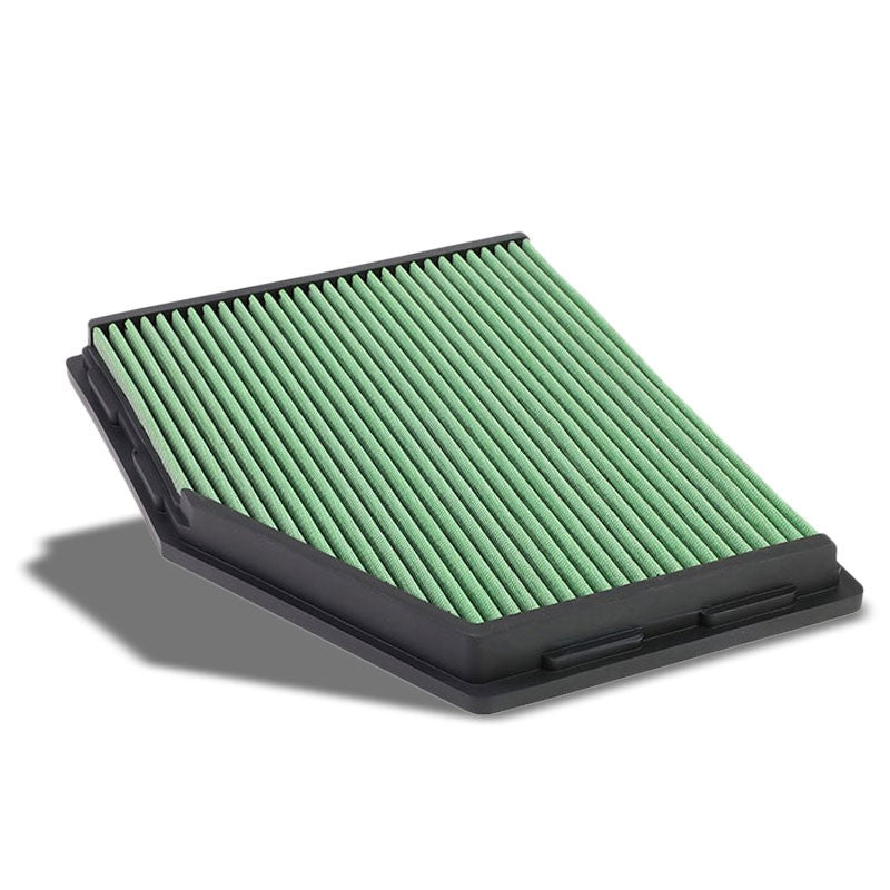 Green High Flow Cotton Airbox Drop-In Panel Air Filter For 04-07 525i 2.5L 3.0L-Performance-BuildFastCar