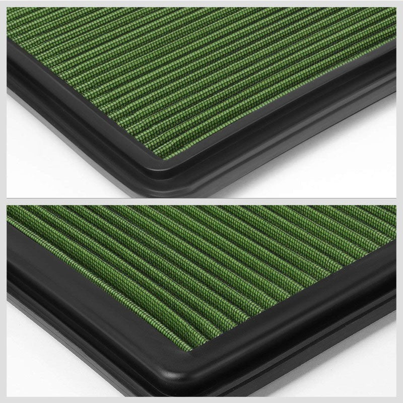 Green High Flow OE Drop-In Replacement Panel Air Filter For 06-15 L200 Diesel-Performance-BuildFastCar