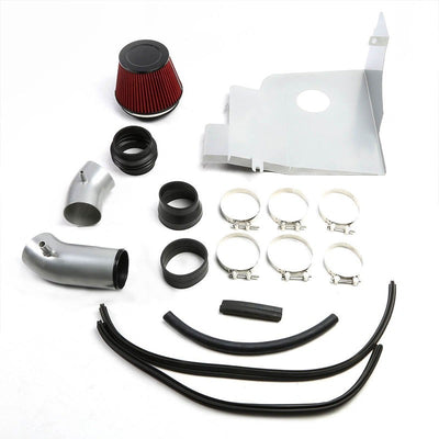 Cold Air Intake Kit Silver Pipe+Filter+Heat Shield For Ford 11-14 Mustang Base V-Performance-BuildFastCar