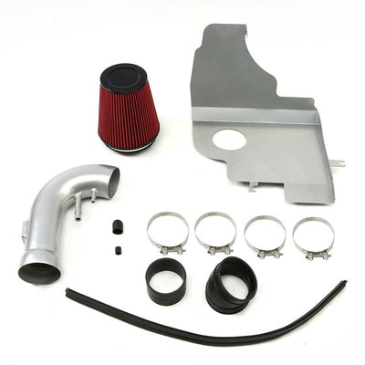 Cold Air Intake Kit Silver Pipe+Filter+Heat Shield For Ford 11-14 Mustang GT V8-Performance-BuildFastCar