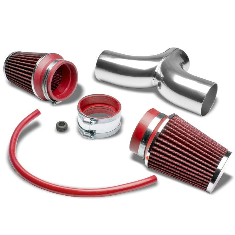 Dual Shortram Air Intake Pipe+ Red Filter for Chevy 97-04 Corvette C5 LS1/LS6-Performance-BuildFastCar