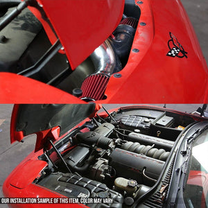 Dual Shortram Air Intake Black Pipe+Blue Filter For Chevy 97-04 Corvette C5 LS1-Performance-BuildFastCar