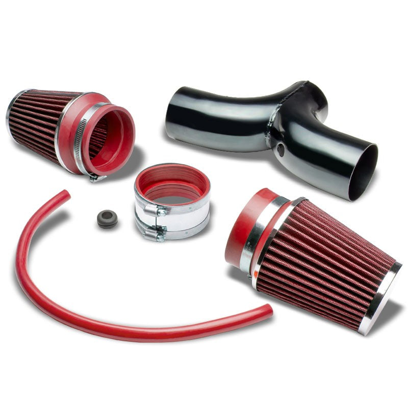 Dual Shortram Air Intake Black Pipe+ Red Filter For Chevy 97-04 Corvette LS1/LS6-Performance-BuildFastCar