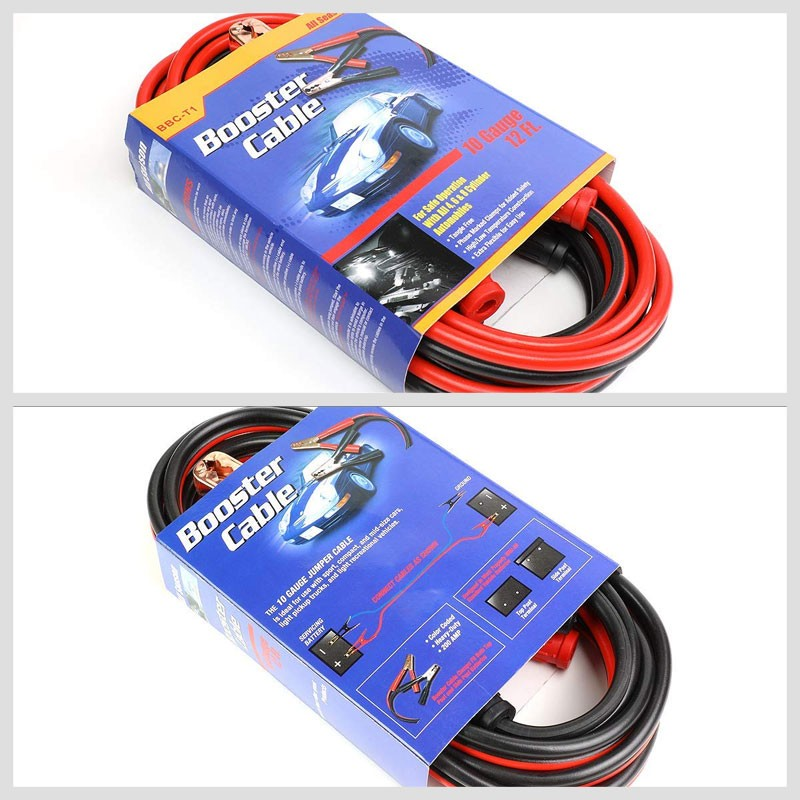 Heavy Duty 12FT 10 Gauge Copper Wire Battery Jumper Cables Jump Start Booster-Accessories-BuildFastCar