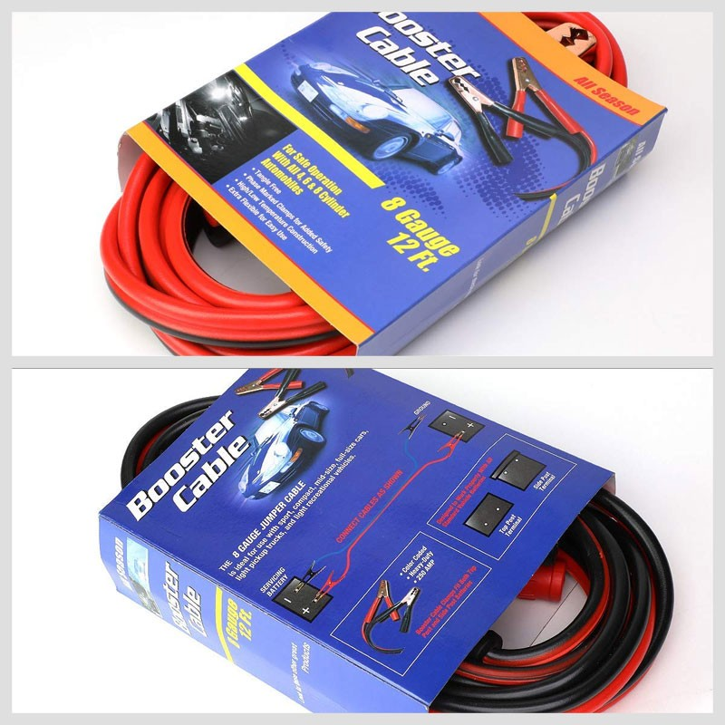 Heavy Duty 12FT 8 Gauge Copper Wire Battery Jumper Cables Jump Start Booster Kit-Accessories-BuildFastCar