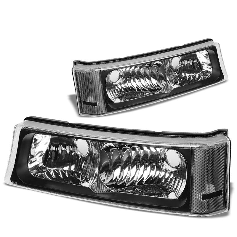 Turn Signal Bumper Light Black/Clear Lens/Corner For 03-07 Silverado/Avalanche-Lighting-BuildFastCar-BFC-BUMLILED-2PCHEVSIL03-BKCL