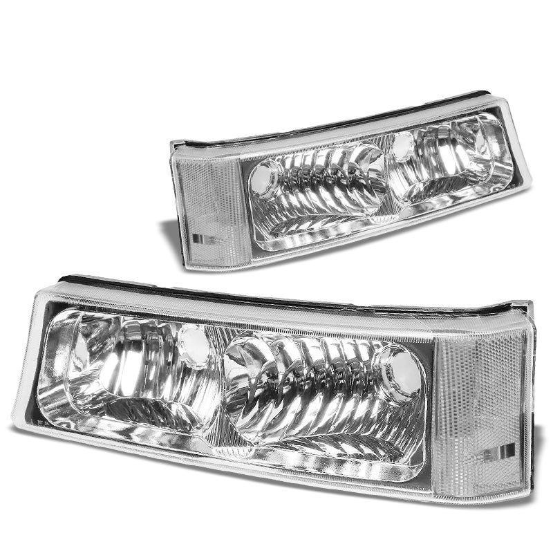 Turn Signal Bumper Light Chrome/Clear Lens/Corner For 03-07 Silverado/Avalanche-Lighting-BuildFastCar-BFC-BUMLILED-2PCHEVSIL03-CHCL