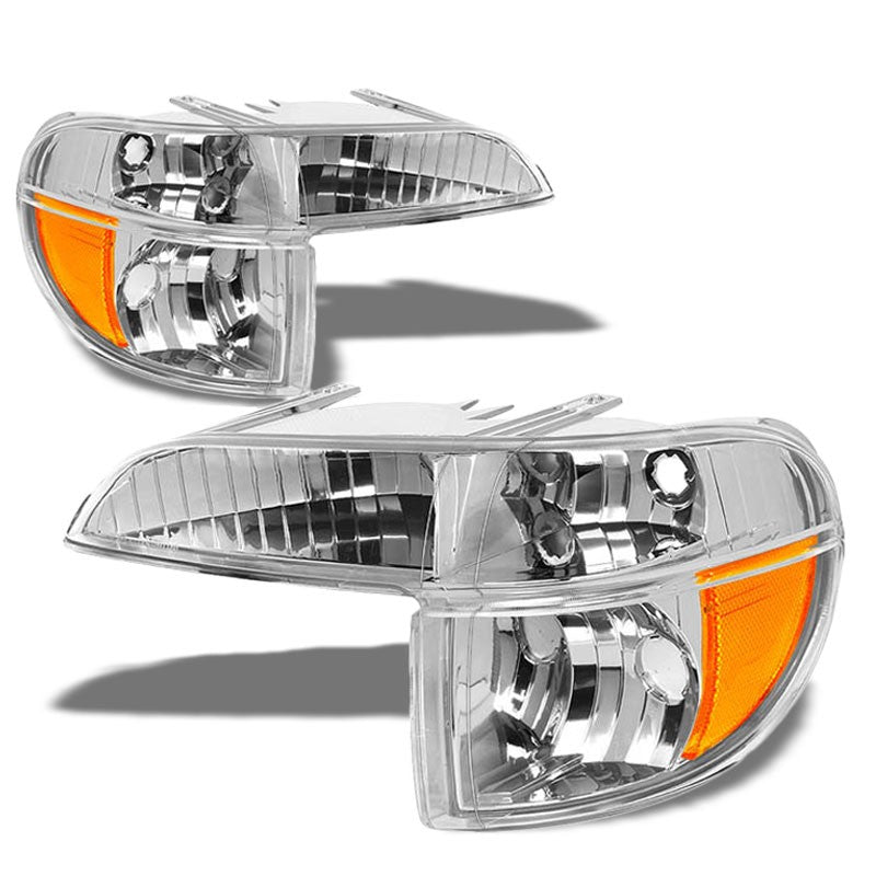 Turn Signal Bumper Light Chrome/Clear Lens/Amber Corner For 95-01 Ford Explorer-Lighting-BuildFastCar-BFC-BUMLILED-FORDEXP95-CHAM