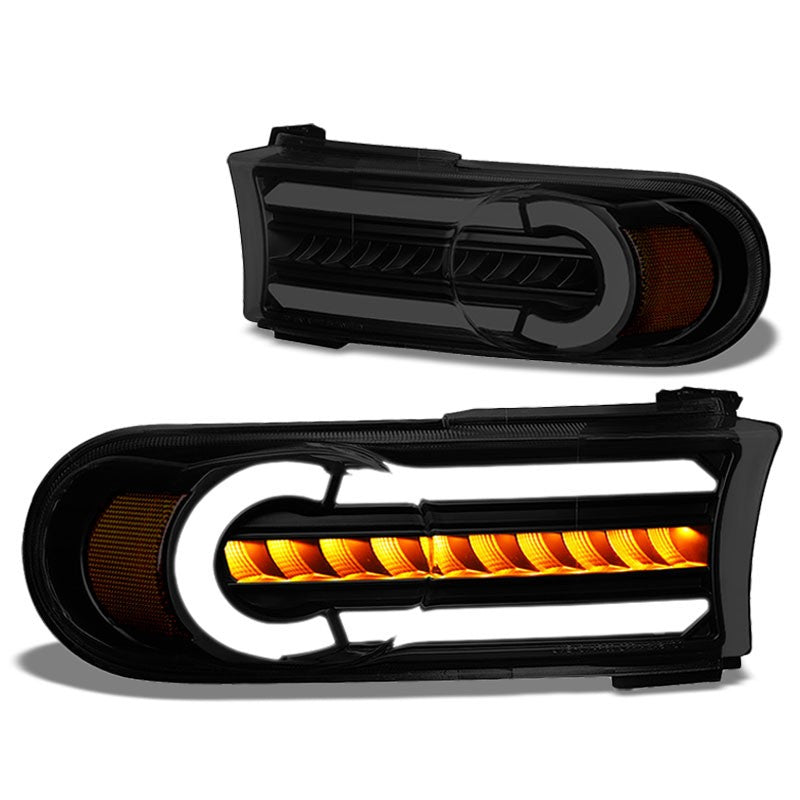 3D LED Front Turn Signal Bumper Light DRL Black/Smoke/Amber For 07-14 FJ Cruiser-Lighting-BuildFastCar-BFC-BL-BUMLILED-TOYFJ07-BKSM-AM
