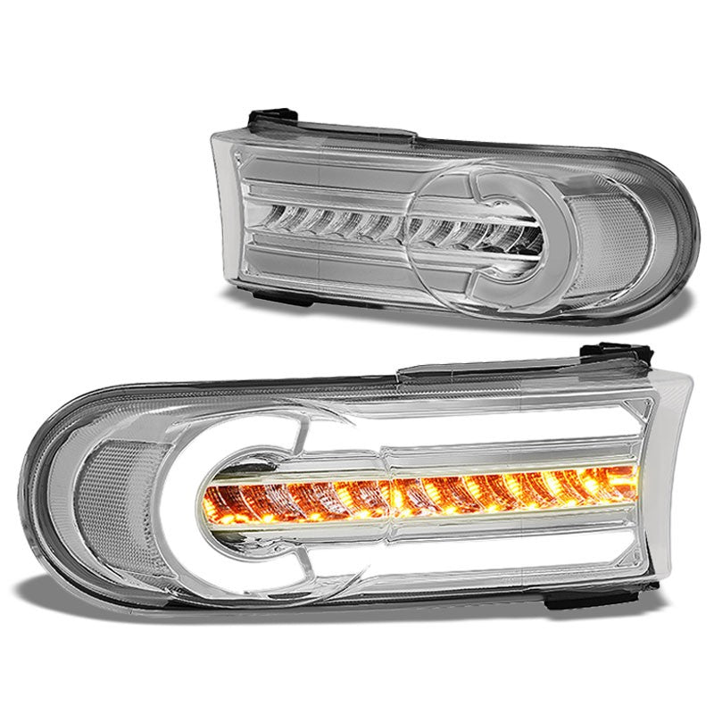 3D LED Front Turn Signal Bumper Light DRL Chrome/Clear For 07-14 FJ Cruiser-Lighting-BuildFastCar-BFC-BL-BUMLILED-TOYFJ07-CH-CL
