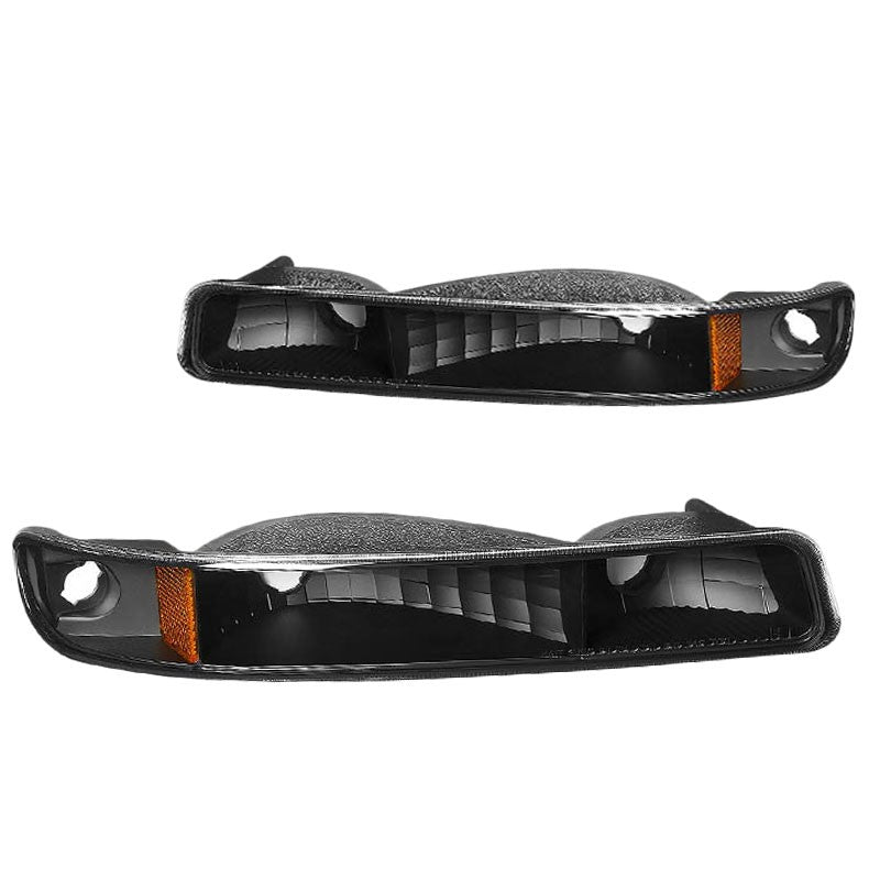 Turn Signal Bumper Light Black Housing/Clear Lens/Amber Corner For 99-06 Sierra-Lighting-BuildFastCar-BFC-BUMLI-GMCSIE99-BKAM