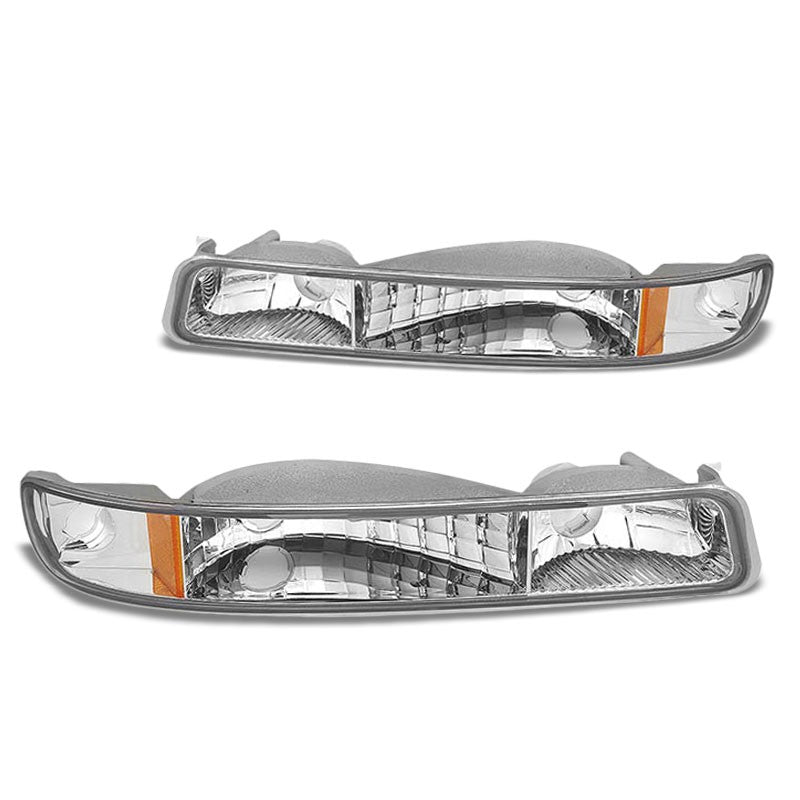 Turn Signal Bumper Light Chrome/Clear Lens/Amber Corner For 99-06 Sierra/Yukon-Lighting-BuildFastCar-BFC-BUMLI-GMCSIE99-CHAM