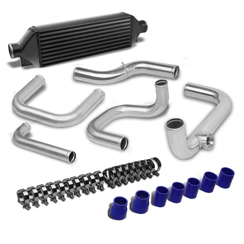 Black Intercooler+Silver SQV BOV Pipe Kit For 88-00 Honda Civic 1.5L/1.6L SOHC-Performance-BuildFastCar