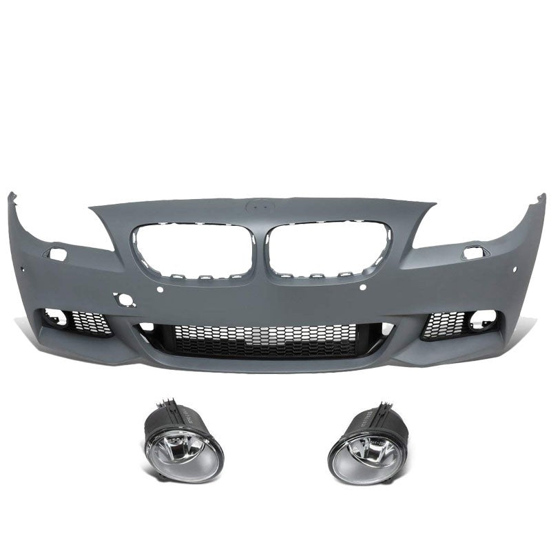 M-Tech Style (W/PDC) Front Bumper+Lower Grille+Fog Light For 11-16 BMW 5-Series-Exterior-BuildFastCar