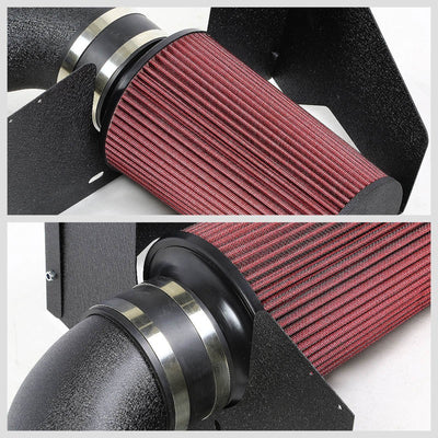 Black Cold Air Induction Intake+Heat Shield For Ford 05-09 Mustang S-197 V8 4.6L-Performance-BuildFastCar