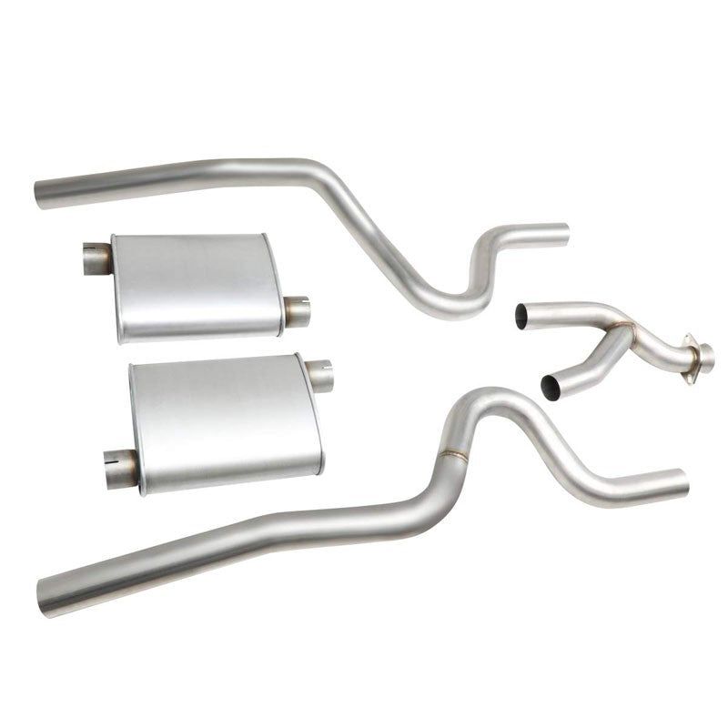"2.5"" Dual Muffler Tip Exhaust Catback System For 99-04 Mustang Base 3.8L/3.9L V6-Performance-BuildFastCar"