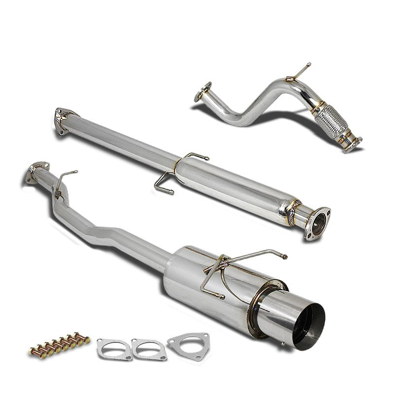 "4/""ROLLED TIP MUFFLER PERFORMANCE CATBACK+PIPE EXHAUST FOR 94-97 ACCORD CD 4CYL"