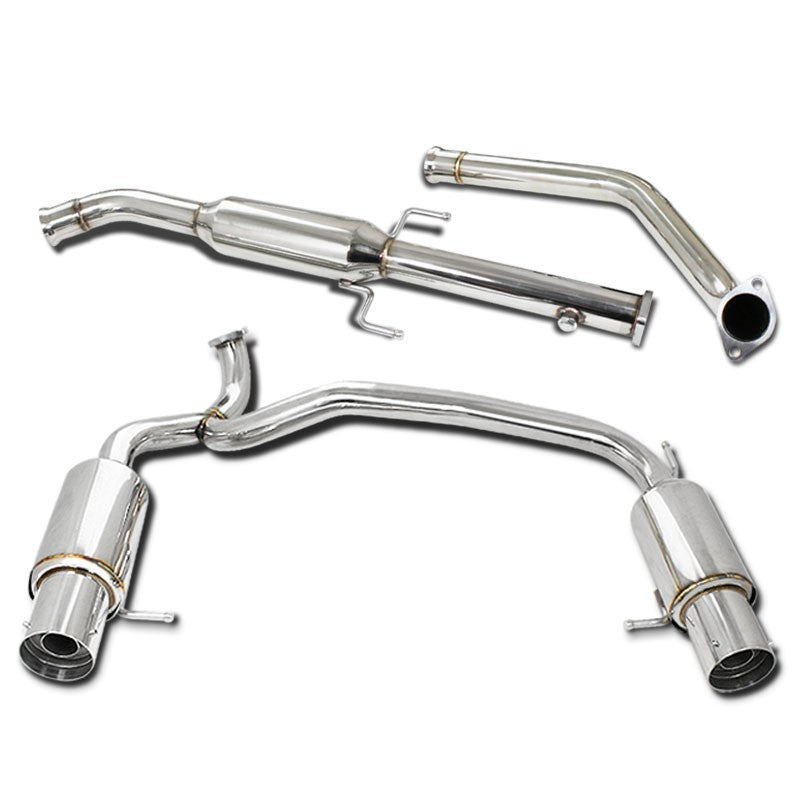 "4"" Dual Muffler Tip Exhaust Catback System For 03-06 Tiburon GT/SE Coupe 2-Door-Performance-BuildFastCar"