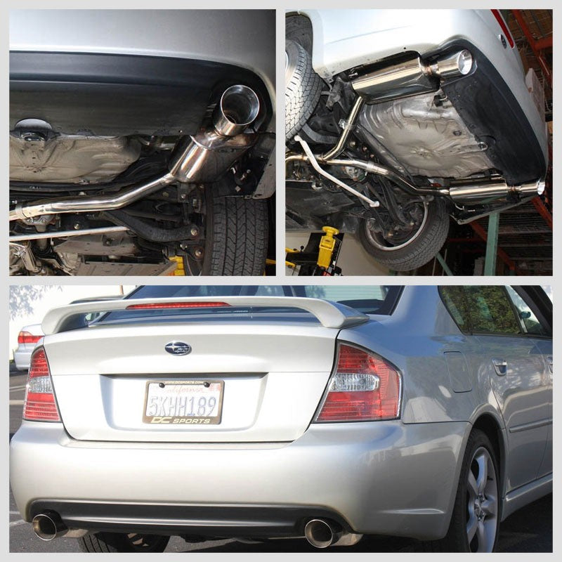"4"" Dual Muffler Tip Exhaust Catback System For 05-09 Legacy BL/BP GT 2.5L DOHC-Performance-BuildFastCar"
