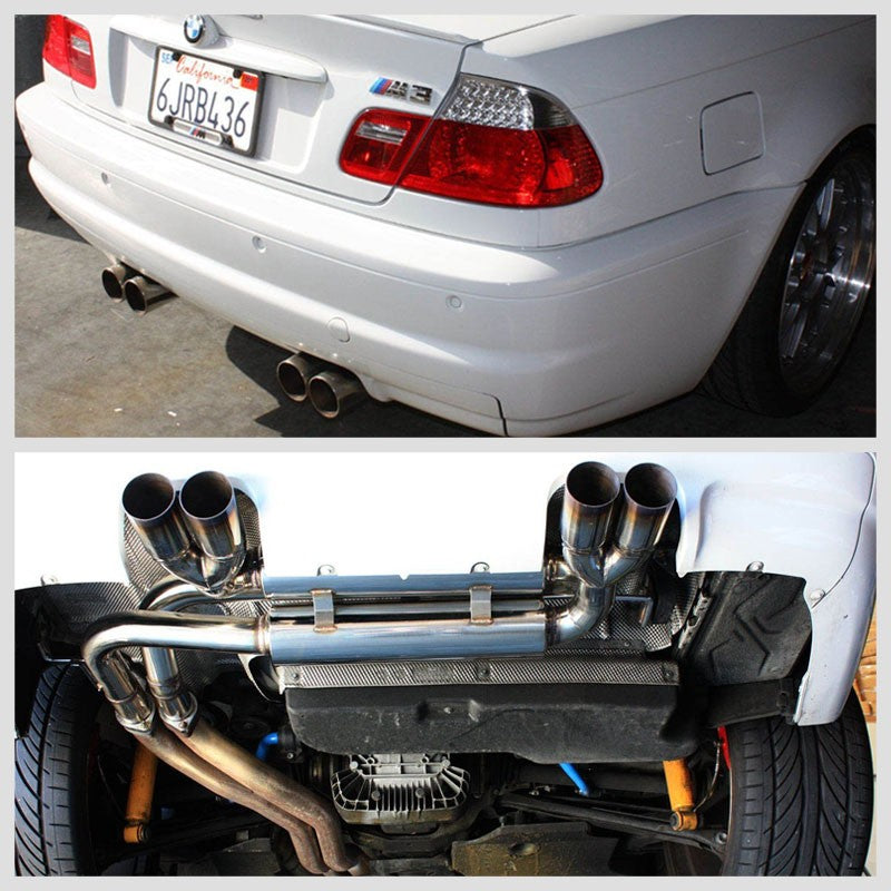 "2.75"" Quad Muffler Tip Exhaust Axleback System For 99-06 BMW M3 E46 Base 3.2L-Performance-BuildFastCar"