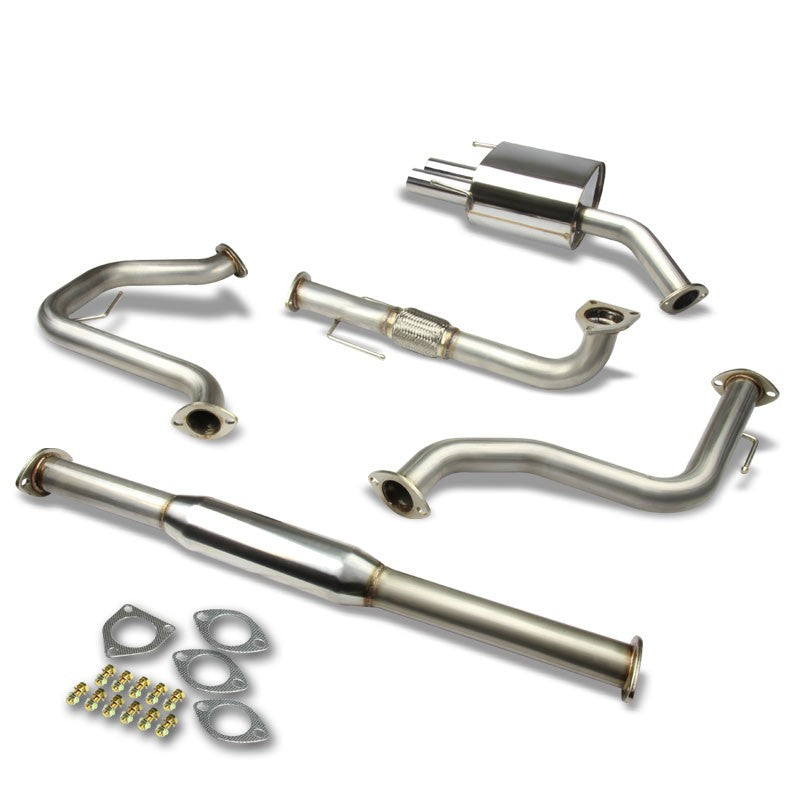 "2.5"" Dual Round Muffler Tip Exhaust Catback System For 05-10 Saab 9-3 2.0L DOHC-Performance-BuildFastCar"