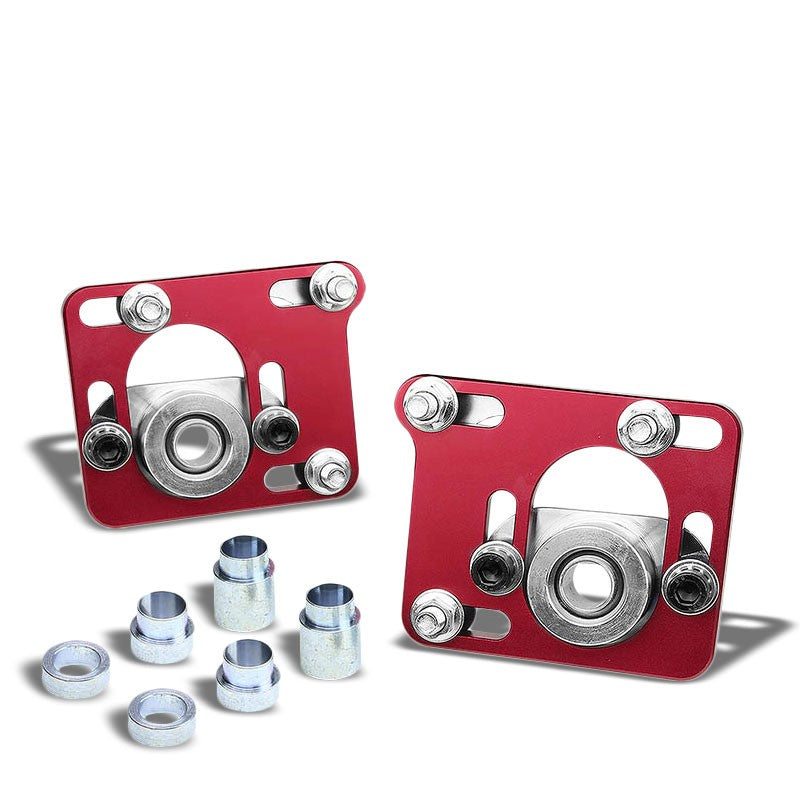 Aluminum Red Front Adjustable +/-2.5 Camber Caster Plates For 94-04 Ford Mustang-Suspension-BuildFastCar