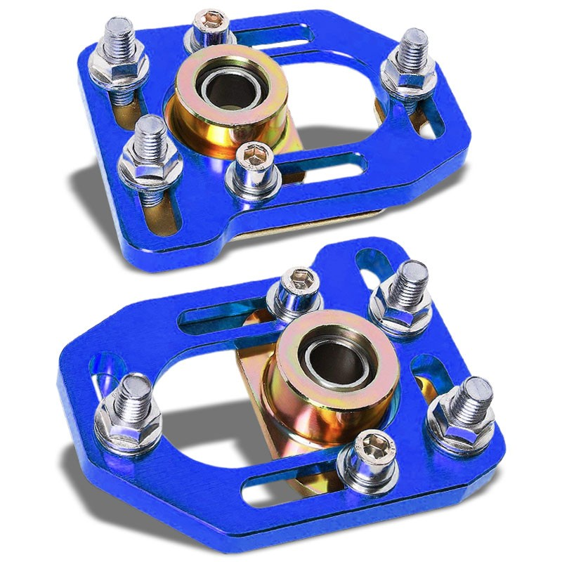 Blue Front Adjustable +/-3 Camber +/-2 Caster Plates Kit For 79-89 Ford Mustang-Suspension-BuildFastCar