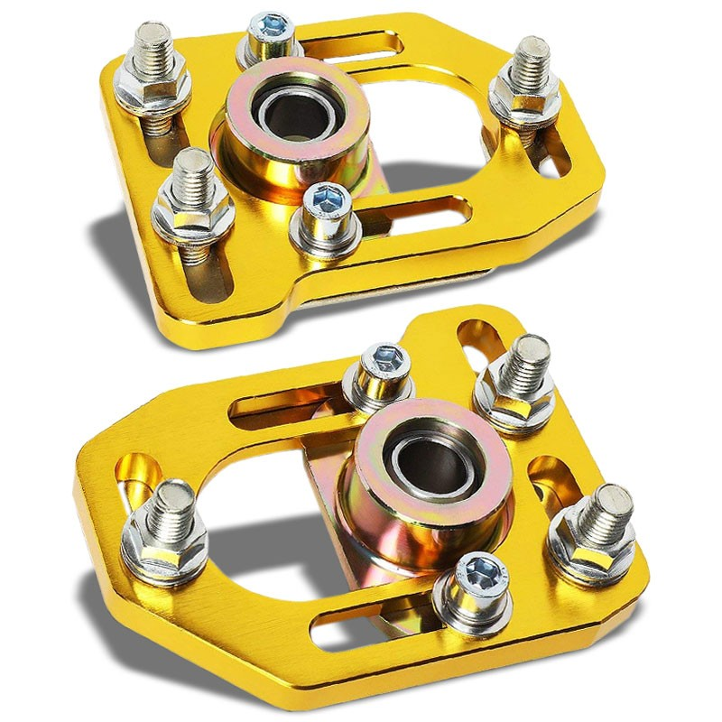 Aluminum Gold Front Adjustable +/-3 Camber +/-2 Caster Plates For 79-89 Mustang-Suspension-BuildFastCar