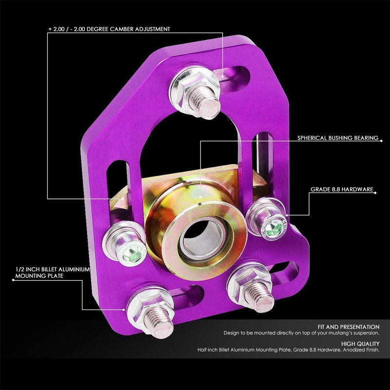 Aluminum Purple Front Adjustable +/-3 Camber +/-2 Caster Plate For 79-89 Mustang-Suspension-BuildFastCar