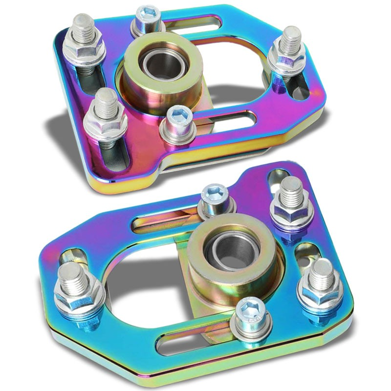Neo Chrome Front Adjustable +/-3 Camber +/-2 Caster Plates Kit For 79-89 Mustang-Suspension-BuildFastCar