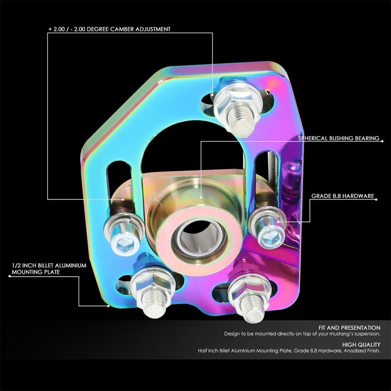 Neo Chrome Front Adjustable +/-3 Camber +/-2 Caster Plates Kit For 90-93 Mustang-Suspension-BuildFastCar