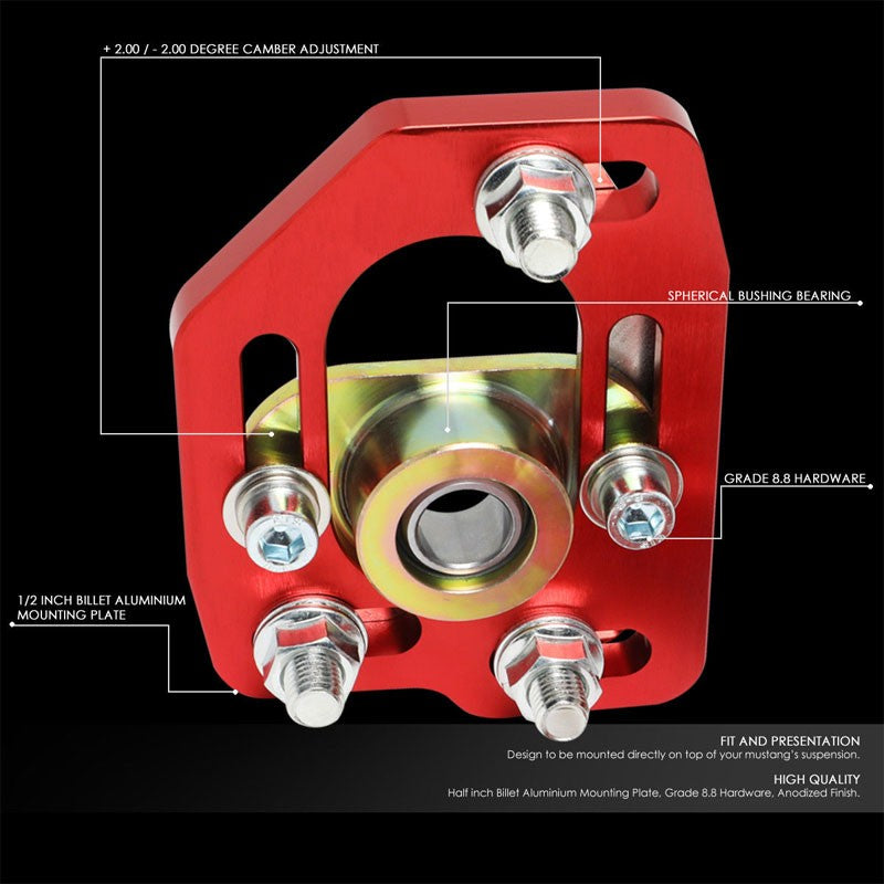 Aluminum Red Front Adjustable +/-3 Camber +/-2 Caster Plates For 90-93 Mustang-Suspension-BuildFastCar