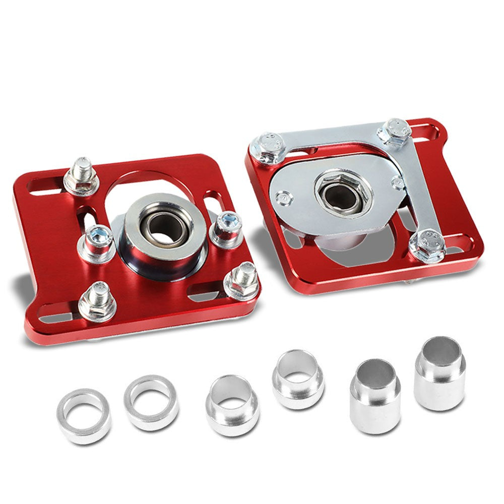 Front Adjustable Aluminum Red Camber/Caster Plate T2 For 94-04 Ford Mustang-Suspension Arms-BuildFastCar