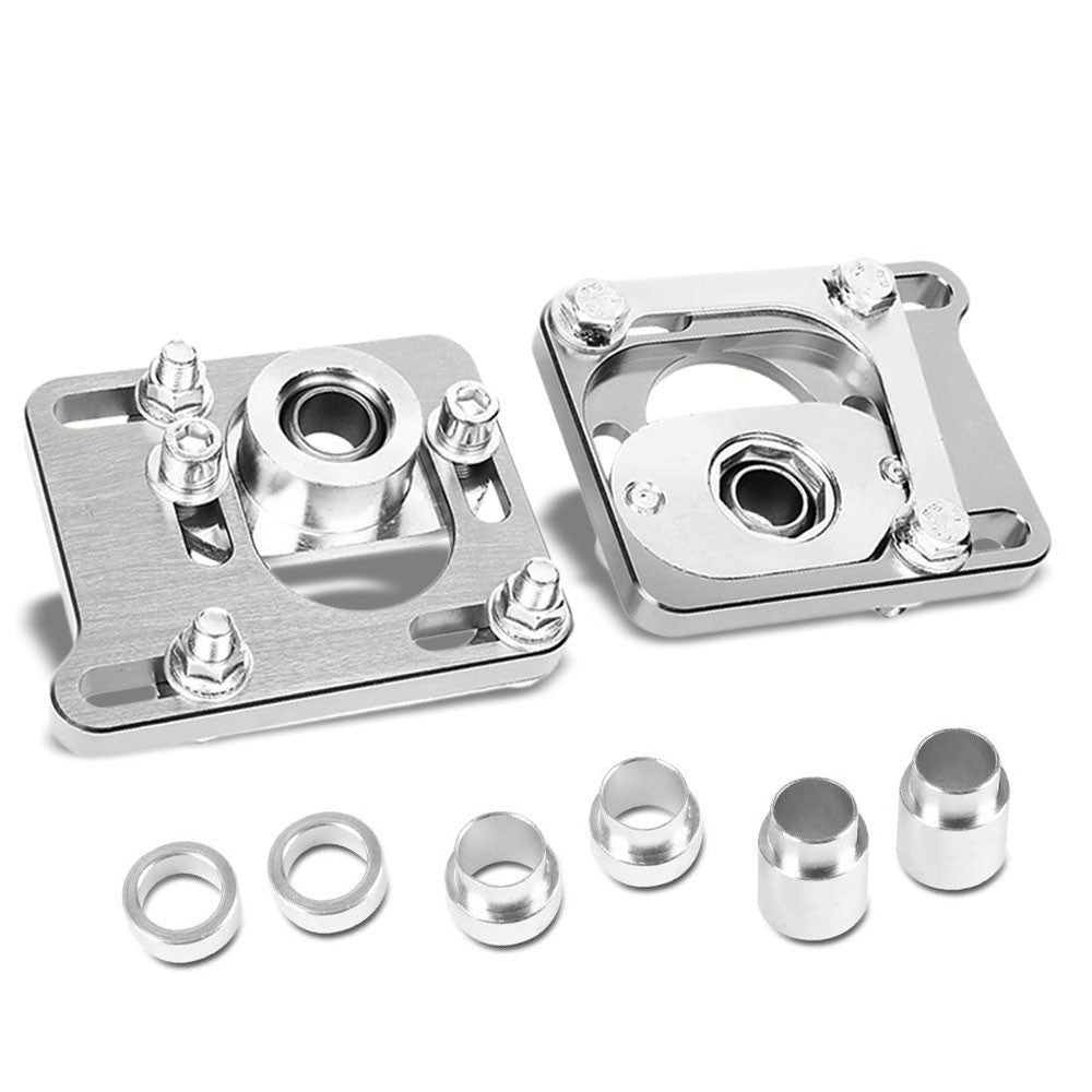 Front Adjustable Aluminum Silver Camber/Caster Plate T2 For 94-04 Ford Mustang-Suspension Arms-BuildFastCar