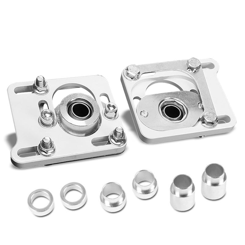 Front Adjustable Aluminum White Camber/Caster Plate T2 For 94-04 Ford Mustang-Suspension Arms-BuildFastCar