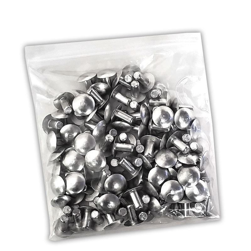 "100x L/13mm 1/4"" Dia Alu Brazier Head Solid Rivet Fastener Hard Trailer Repair-Hardware Fasteners-BuildFastCar-BFC-TTP-SRT-BZH-025-050-HD"