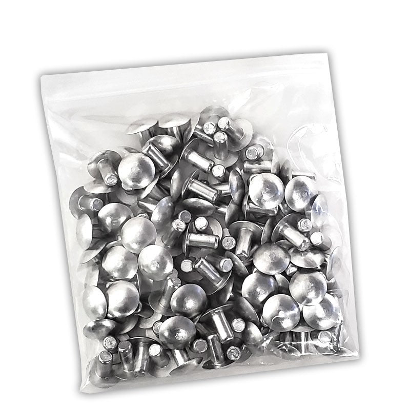 "100x L/13mm 1/4"" Dia Alu Brazier Head Solid Rivet Fastener Soft Trailer Repair-Hardware Fasteners-BuildFastCar-BFC-TTP-SRT-BZH-025-050-ST"