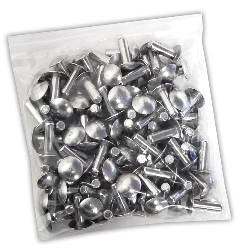 "100x L/19mm 1/4"" Dia Alu Brazier Head Solid Rivet Fastener Hard Trailer Repair-Hardware Fasteners-BuildFastCar-BFC-TTP-SRT-BZH-025-075-HD"