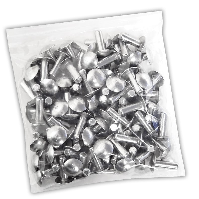 "100x L/19mm 1/4"" Dia Alu Brazier Head Solid Rivet Fastener Soft Trailer Repair-Hardware Fasteners-BuildFastCar-BFC-TTP-SRT-BZH-025-075-ST"