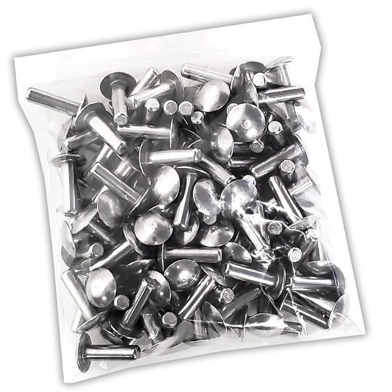 "100x L/22mm 1/4"" Dia Alu Brazier Head Solid Rivet Fastener Hard Trailer Repair-Hardware Fasteners-BuildFastCar-BFC-TTP-SRT-BZH-025-087-HD"