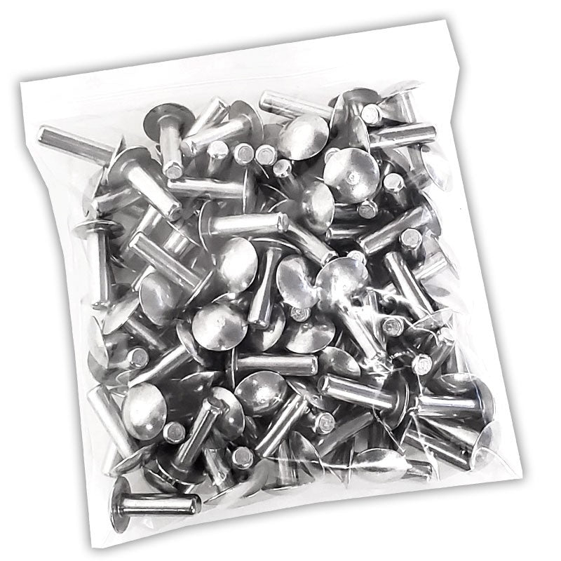 "100x L/22mm 1/4"" Dia Alu Brazier Head Solid Rivet Fastener Soft Trailer Repair-Hardware Fasteners-BuildFastCar-BFC-TTP-SRT-BZH-025-087-ST"